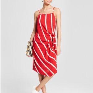 Mossimo Striped Side Tie Asymmetric Hem Dress Red